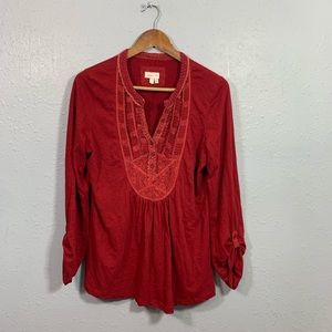 Meadow Rue Anthro Red Ruffle Top Size XS*